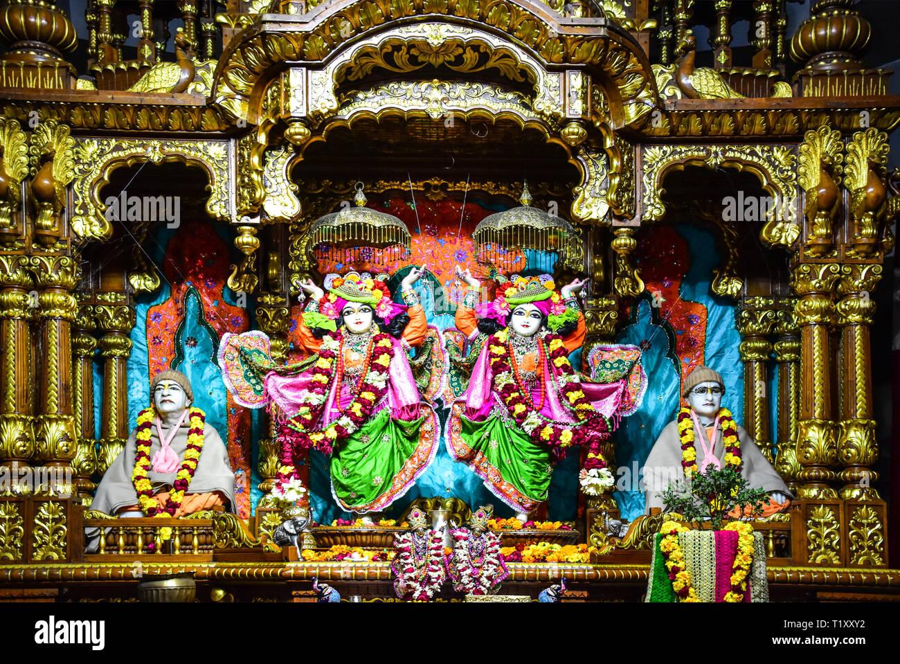 ISKCON Temple, Hare Krishna Hills,  Delhi, India Stock Photo