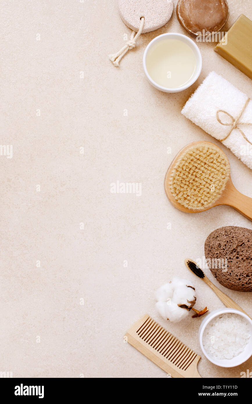 Organic body care and natural personal care products on the light beige table, top view composition Stock Photo