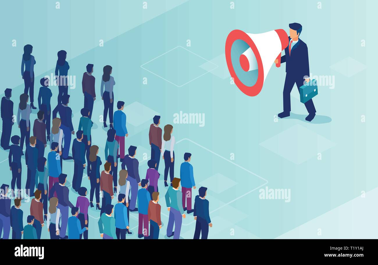 Isometric vector of a businessman or politician with megaphone making an announcement to a crowd of people. - Stock Vector