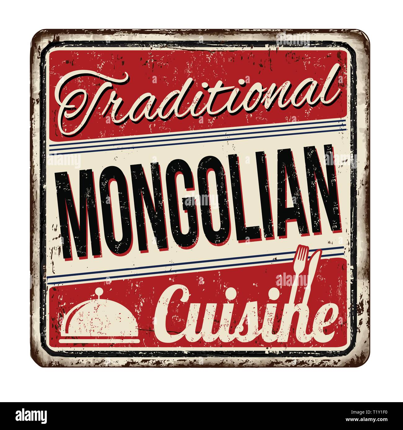 Traditional mongolian cuisine vintage rusty metal sign on a white background, vector illustration - Stock Vector