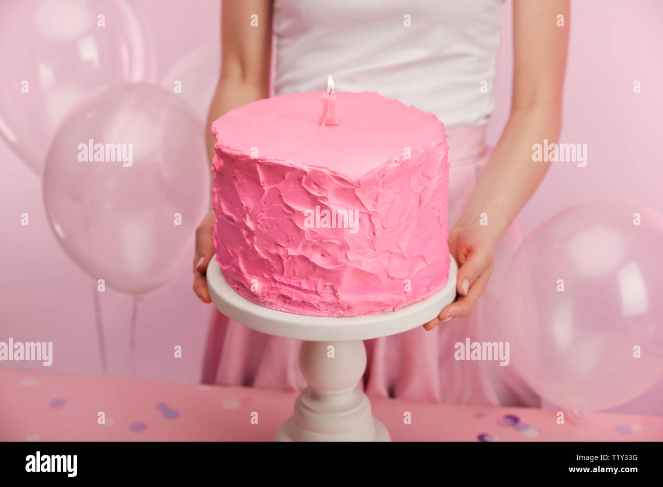 Incredible Cropped View Of Woman Holding Cake Stand With Pink Birthday Cake Birthday Cards Printable Benkemecafe Filternl