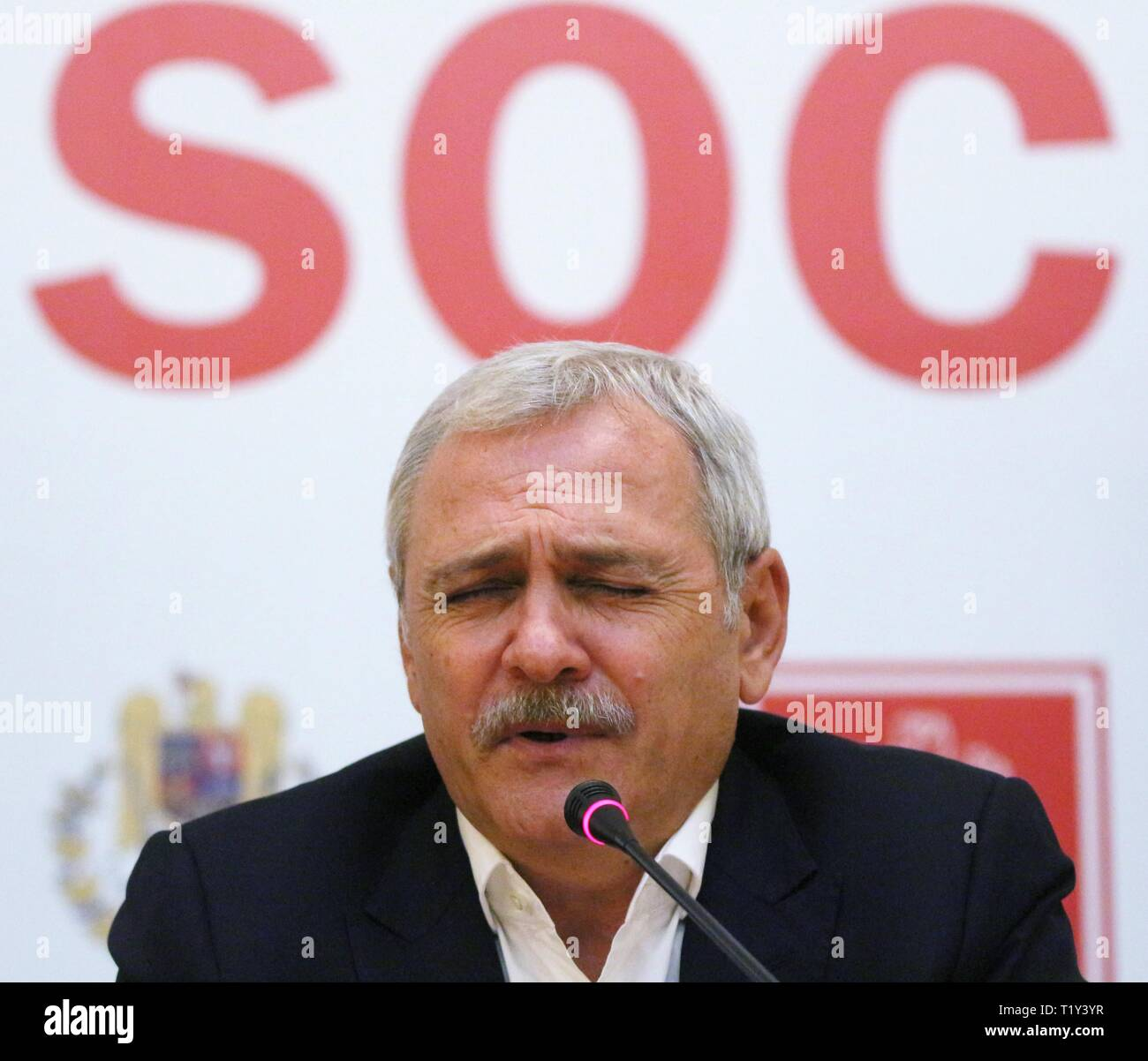 Bucharest, Romania - March 28, 2019: Liviu Dragnea, alongside Aurelian Pavelescu and Danut Pop (not in picture), just signed a protocon where PNTCD and PER decided to support PSD in the EP elections. Credit: lcv/Alamy Live News - Stock Image
