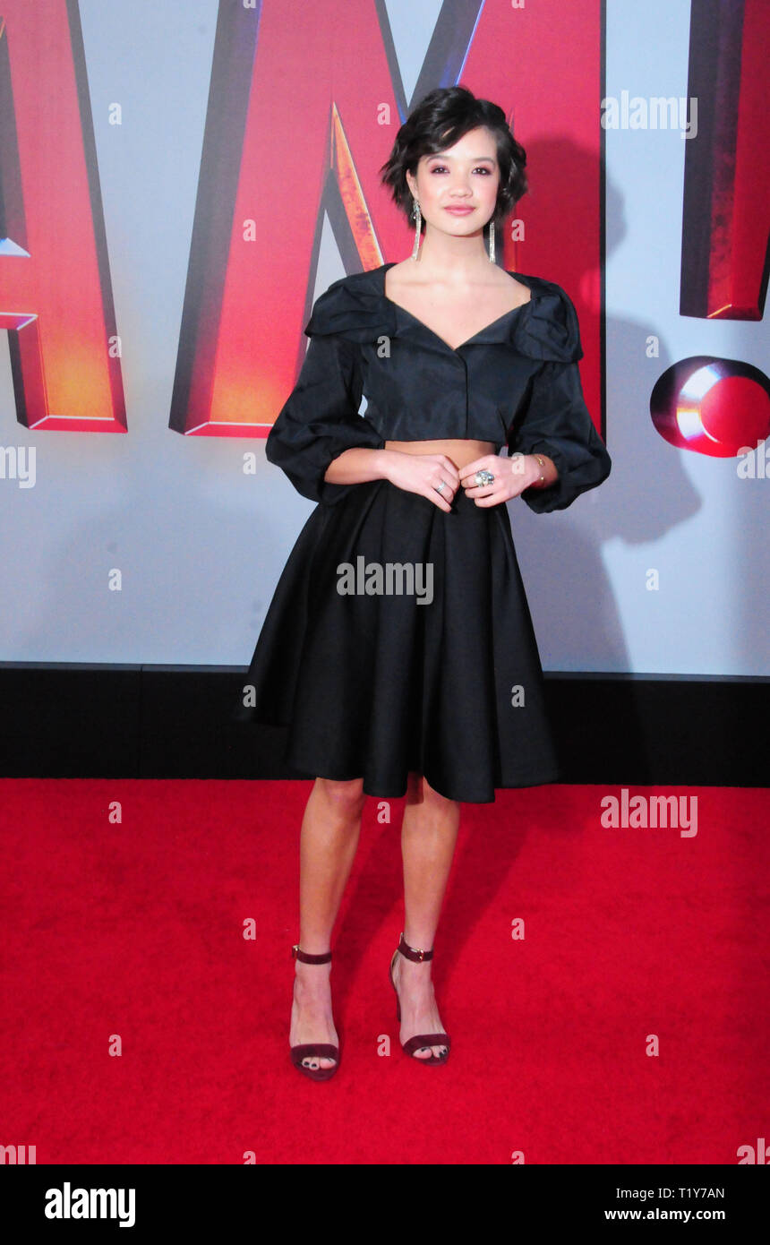 Los Angeles, USA. 28th Mar, 2019. LOS ANGELES, CA - MARCH 28: Actress Peyton Elizabeth Lee attends the World Premiere of Warner Bros. Pictures and New Line Cinema's 'Shazam!' on March 28, 2019 at TCL Chinese Theatre in Los Angeles, California. Credit: Barry King/Alamy Live News - Stock Image