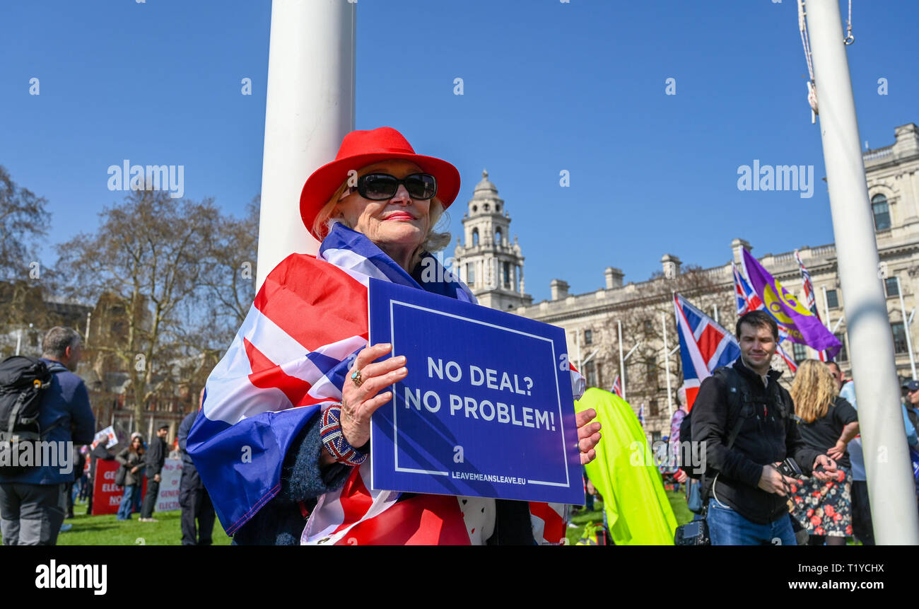 London, UK. 29th Mar, 2019. Pro Brexit supporters gather in Parliament Square London today as they show their anger at not leaving the EU today . MP's are sitting today to debate leaving the European Parliament on the day it was originally supposed to happen Credit: Simon Dack/Alamy Live News Stock Photo