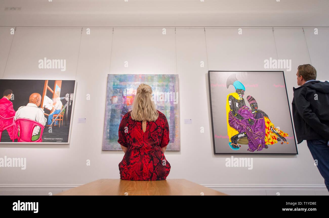 Sotheby's London, UK. 29 March, 2019. Pre-sale exhibition of Modern and Contemporary African Art, showing the work of artists from across the African diaspora. Credit: Malcolm Park/Alamy Live News. - Stock Image
