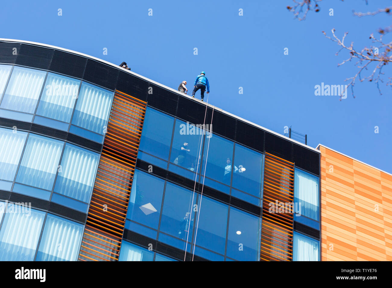 Bournemouth, Dorset, UK. 29th Mar, 2019. Staff working for telecommunications provider 4Com abseil down their new office building at One Lansdowne Plaza in Bournemouth which is 100ft high. They are raising funds for Hope Housing and Hope AOK Rucksack Appeal who provide support to homeless in Bournemouth. A lovely warm sunny day for the descent!  Man at the top getting ready to abseil down while friends and colleagues look out. Credit: Carolyn Jenkins/Alamy Live News - Stock Image