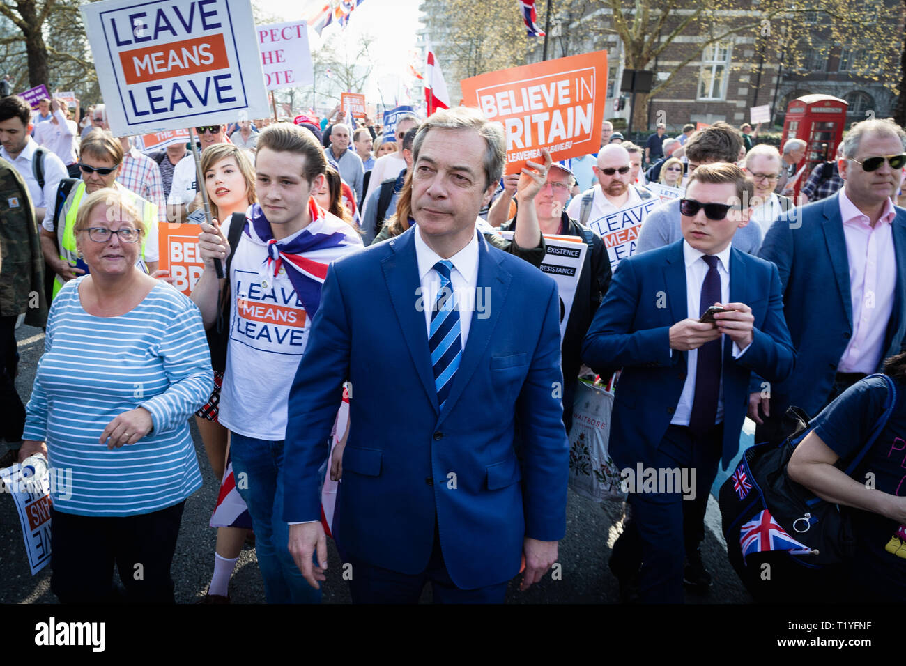 London, UK. 29th March 2019. Thousands of demonstrators gather at Parliament Square after a two-week march from Sunderland Andy Barton/Alamy Live News Stock Photo