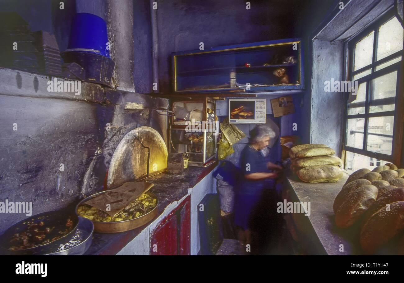 Inside the Bakery at Vatoussa Village, Lesvos, Greece - Stock Image