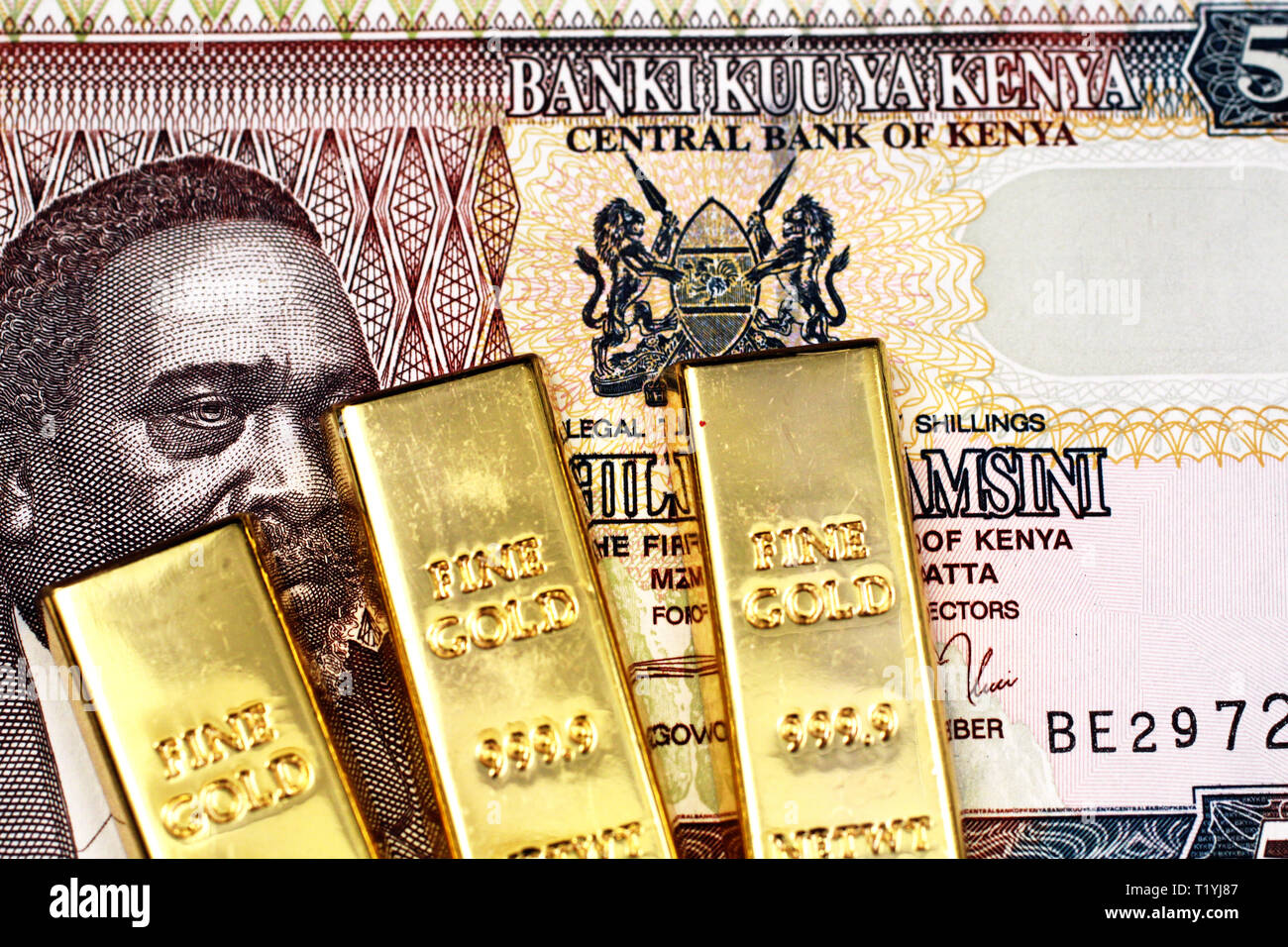 A close up of a Kenyan fifty shilling bank note with three golden ingots in macro Stock Photo