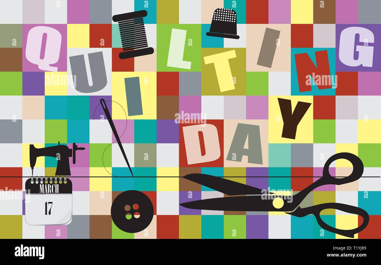 Postcard for Quilting Day. Background from multi-colored pieces with objects of sewing production - Stock Vector