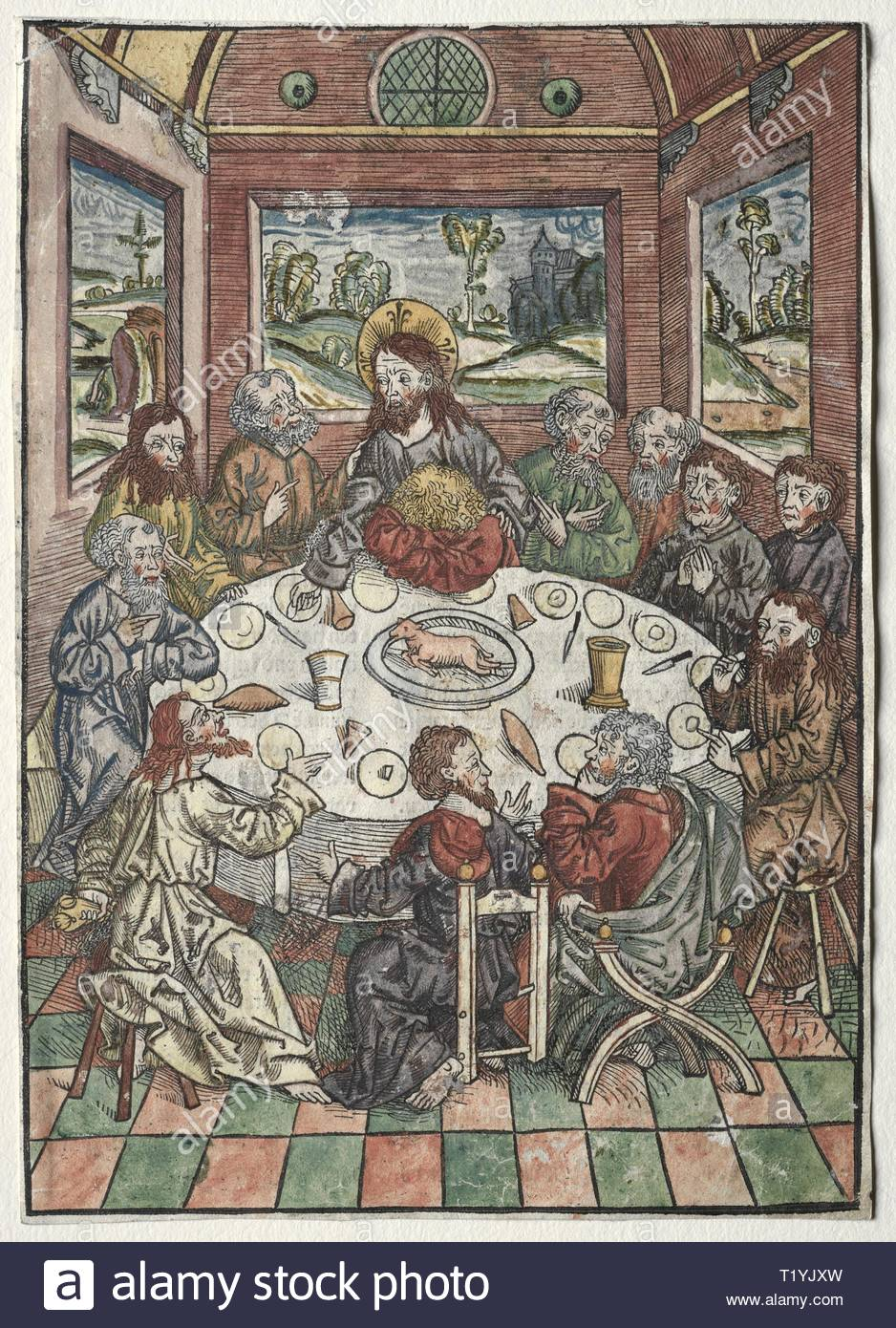 Der Schatzbehalter: The Last Supper, 1491. Michael Wolgemut (German, 1434-1519). Color woodcut. - Stock Image
