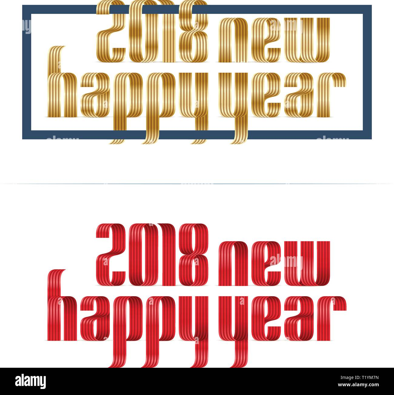 gold and red 2018 happy new year font ribbon on white background Stock Vector
