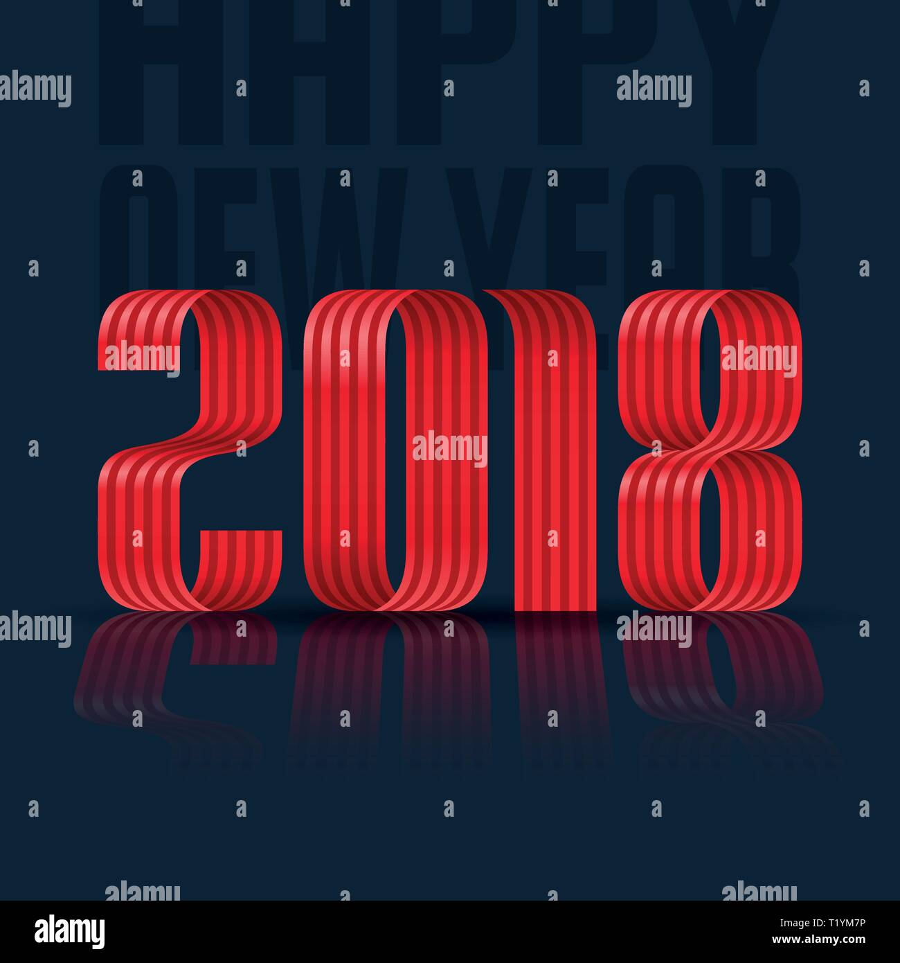2018 happy new year red ribbon on black background Stock Vector