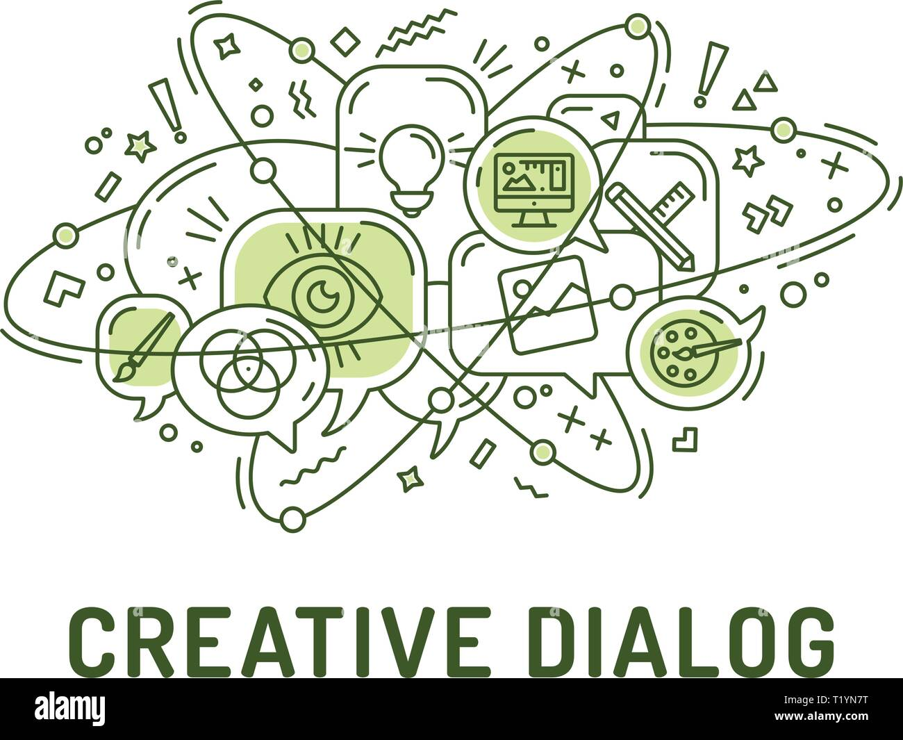 Illustration from creativity art design icons in chat bubbles with three orbital ovals - Stock Image