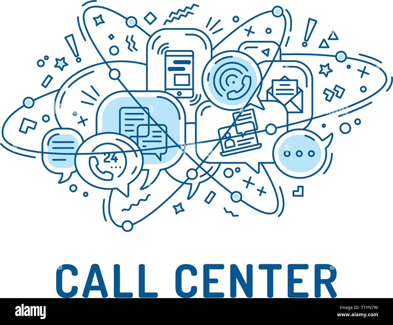 Illustration from communication or call center icons in chat bubbles with three orbital ovals - Stock Image