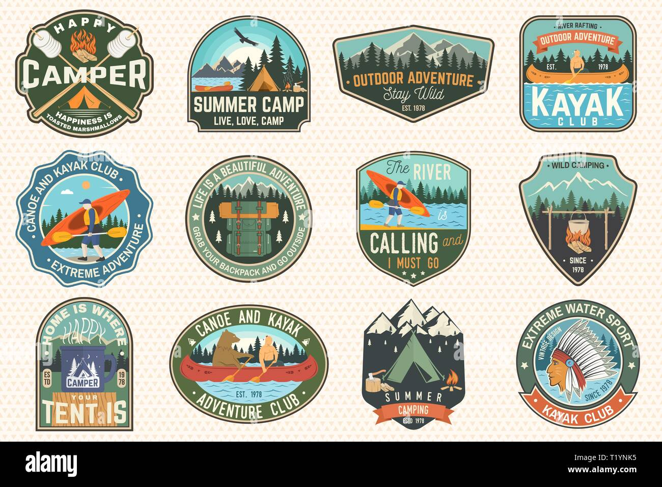 Set of summer camp, canoe and kayak club badges. Vector. For patch, stamp. Design with camping, mountain, river, american indian and kayaker silhouette. Extreme camp and water sport kayak patches - Stock Image