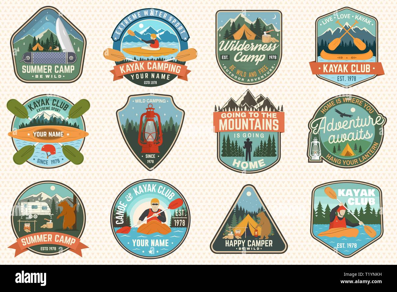 Set of summer camp, canoe and kayak club badges. Vector. For patch, stamp. Design with camping, mountain, lantern, tent, axe, mountain, campfire and kayaker. Extreme camp and water sport kayak patches - Stock Image