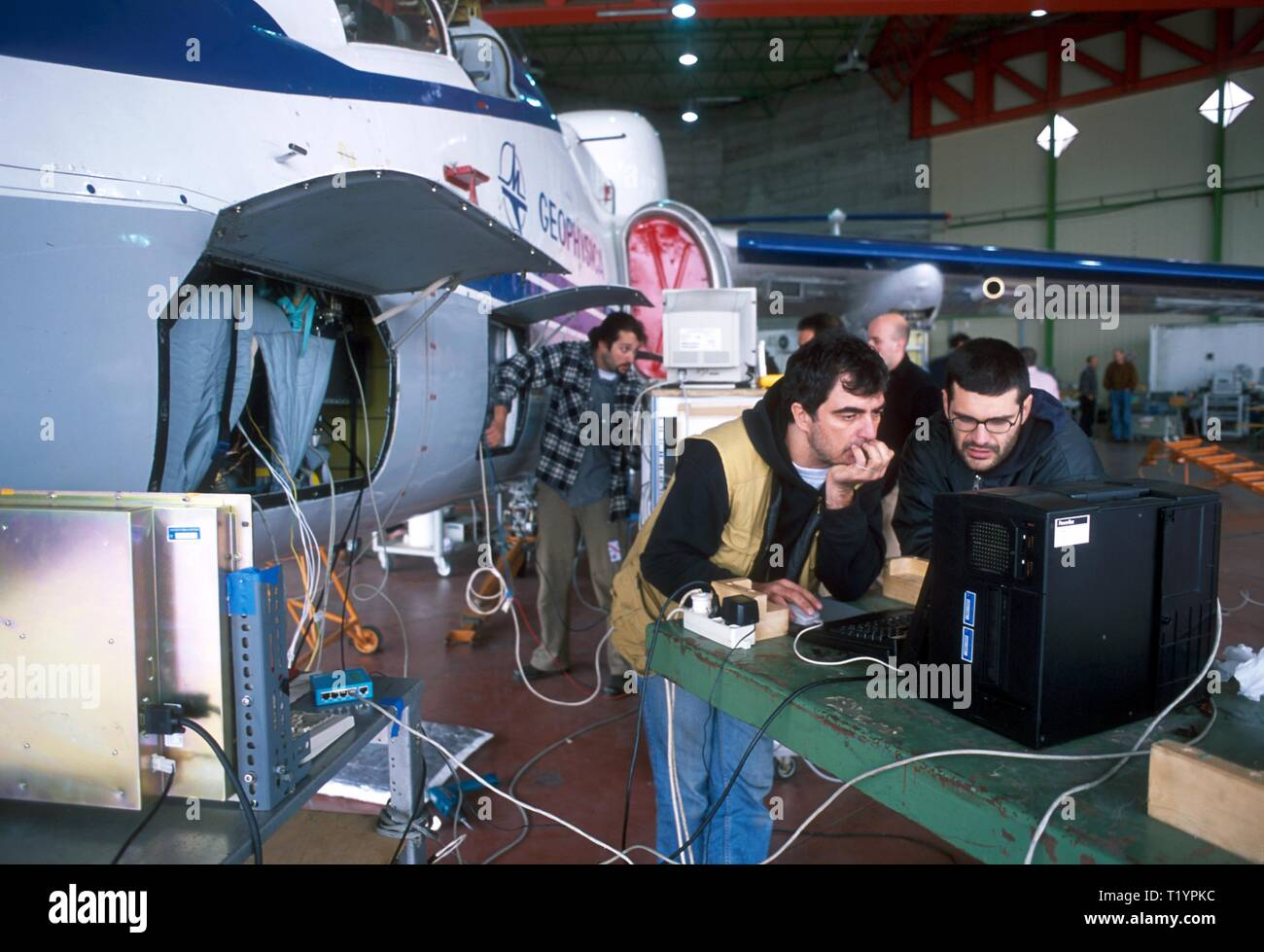 Myasishchev M-55, former Soviet military spy airplane, from 1992 employed by the Scientific European Consortium  Geophysica for atmosphere searches about stratospheric ozone, stratosphere-troposphere interaction and its repercussions on global warming - Stock Image