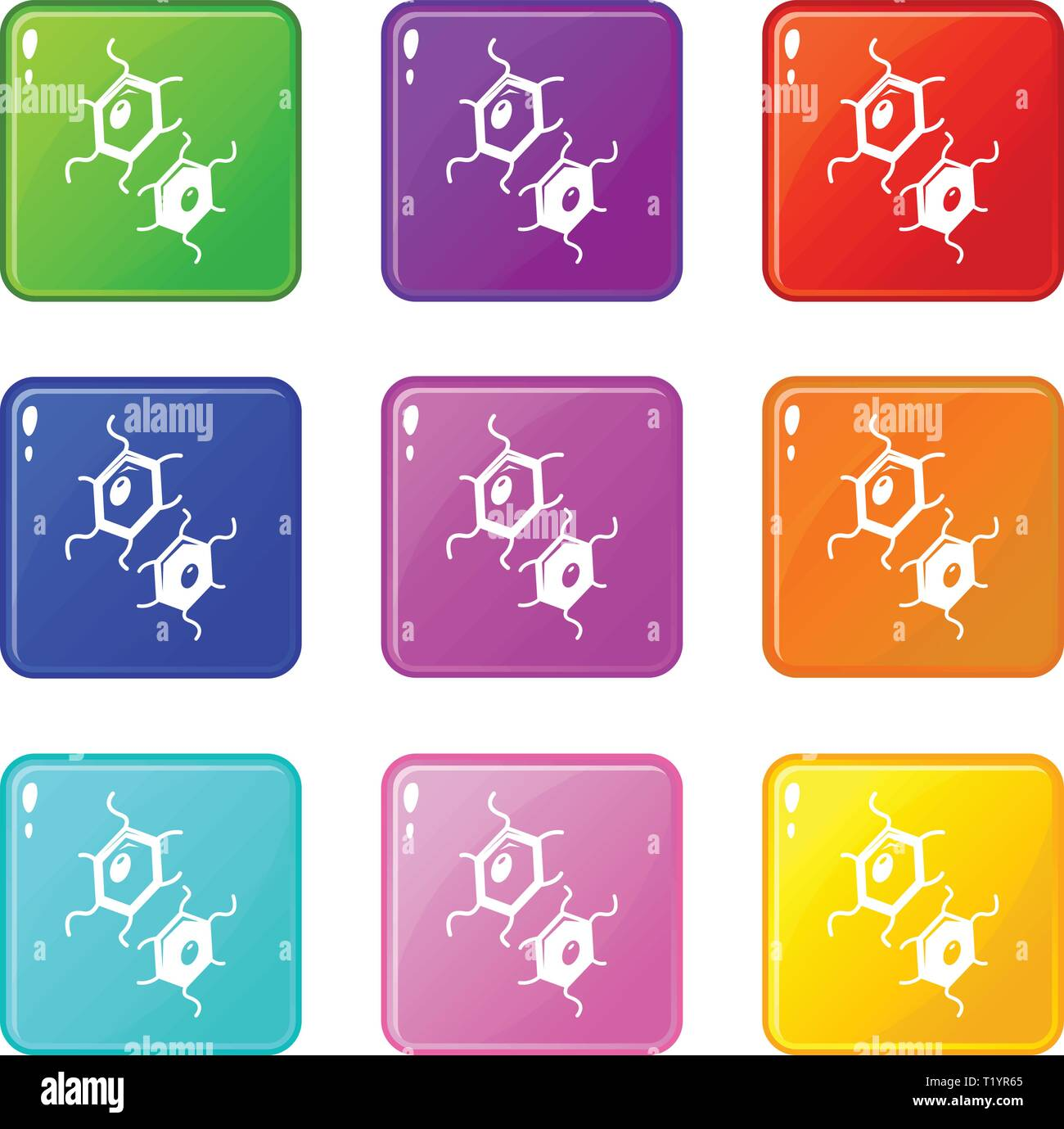 Bird flu virus icons set 9 color collection - Stock Image