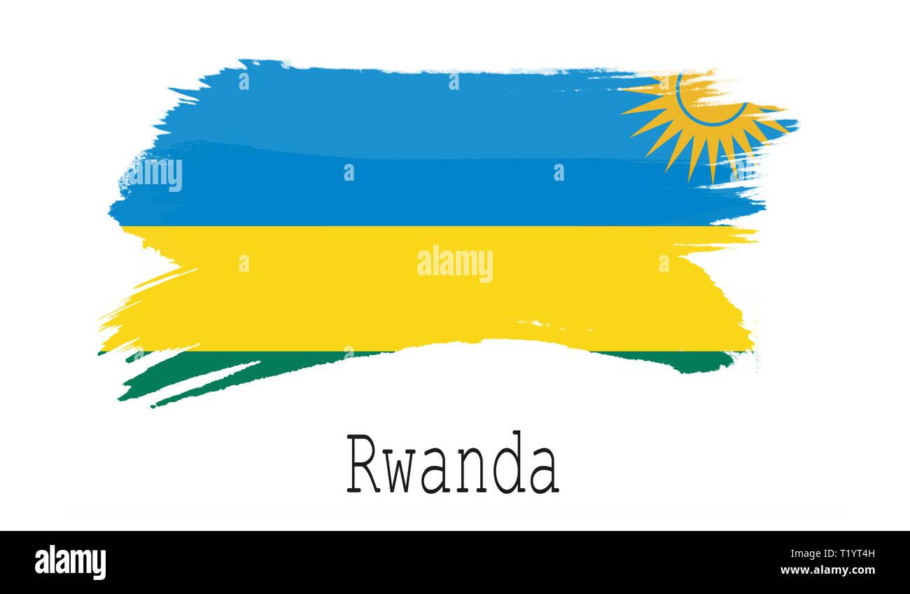 Rwanda flag on white background, 3d rendering - Stock Image