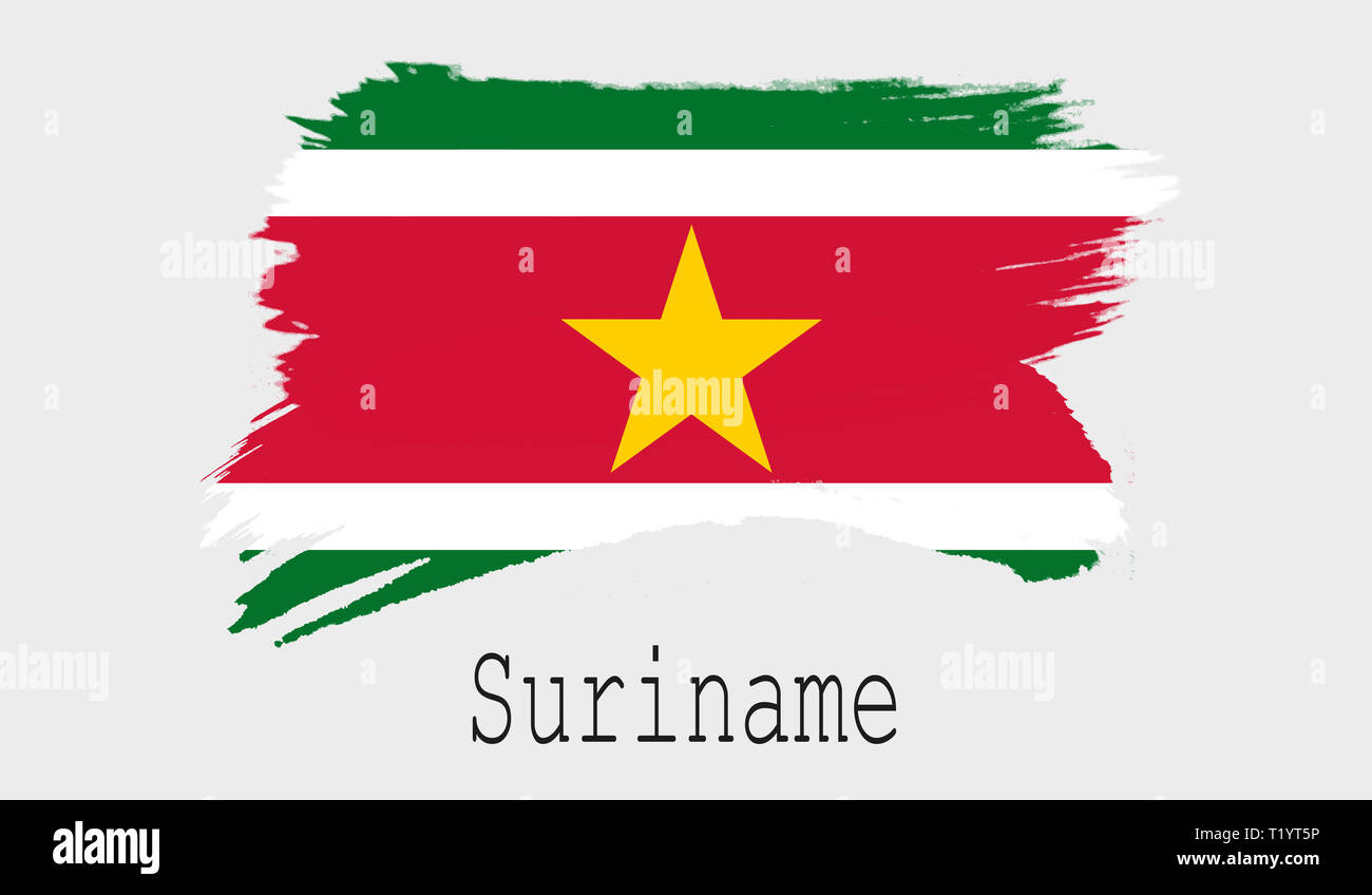 Suriname flag on white background, 3d rendering - Stock Image