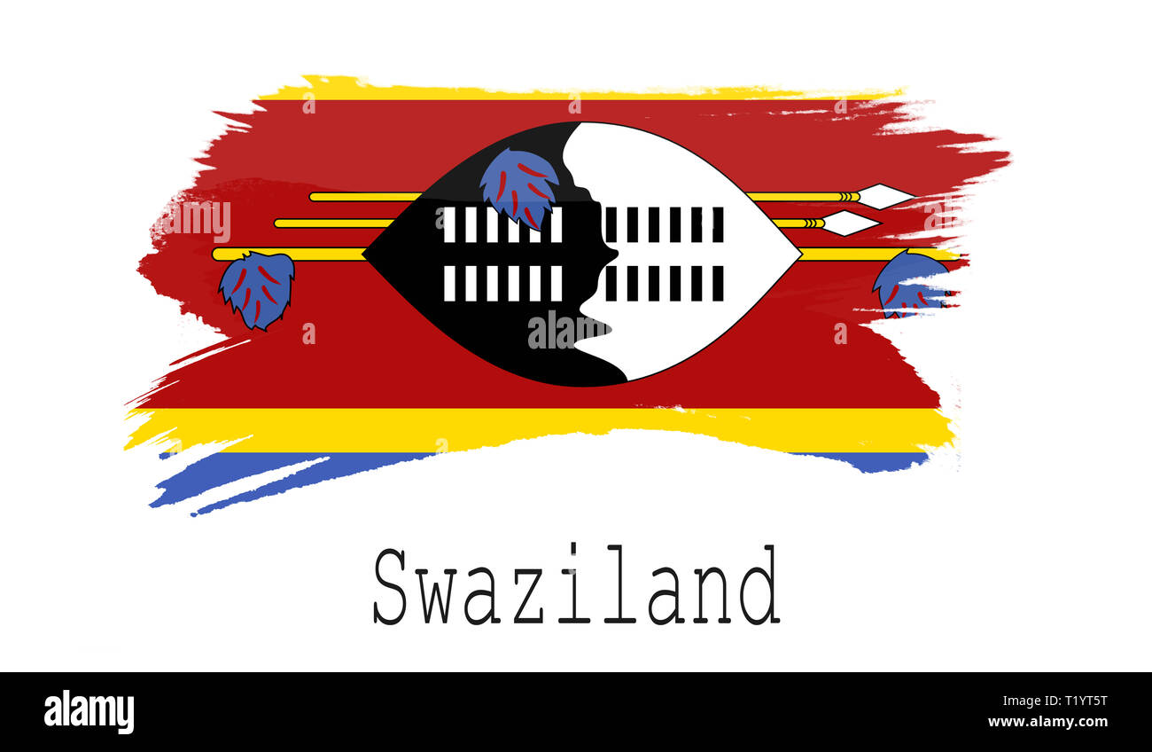 Swaziland flag on white background, 3d rendering Stock Photo