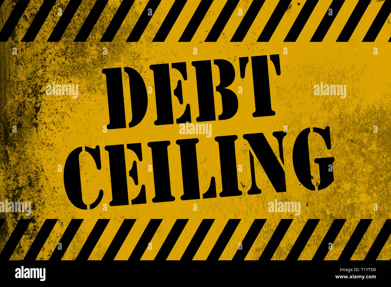 Debt ceiling sign yellow with stripes, 3D rendering - Stock Image