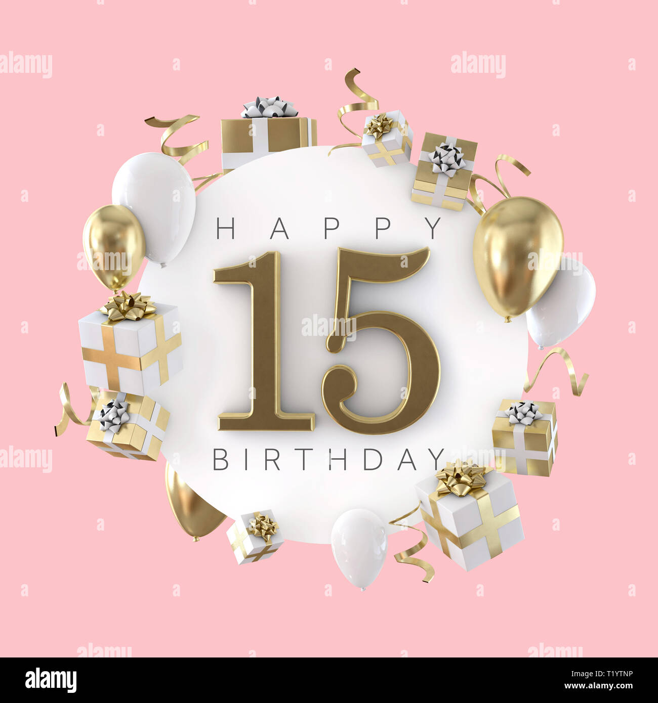 Happy 15th Birthday Party Composition With Balloons And Presents 3D Render