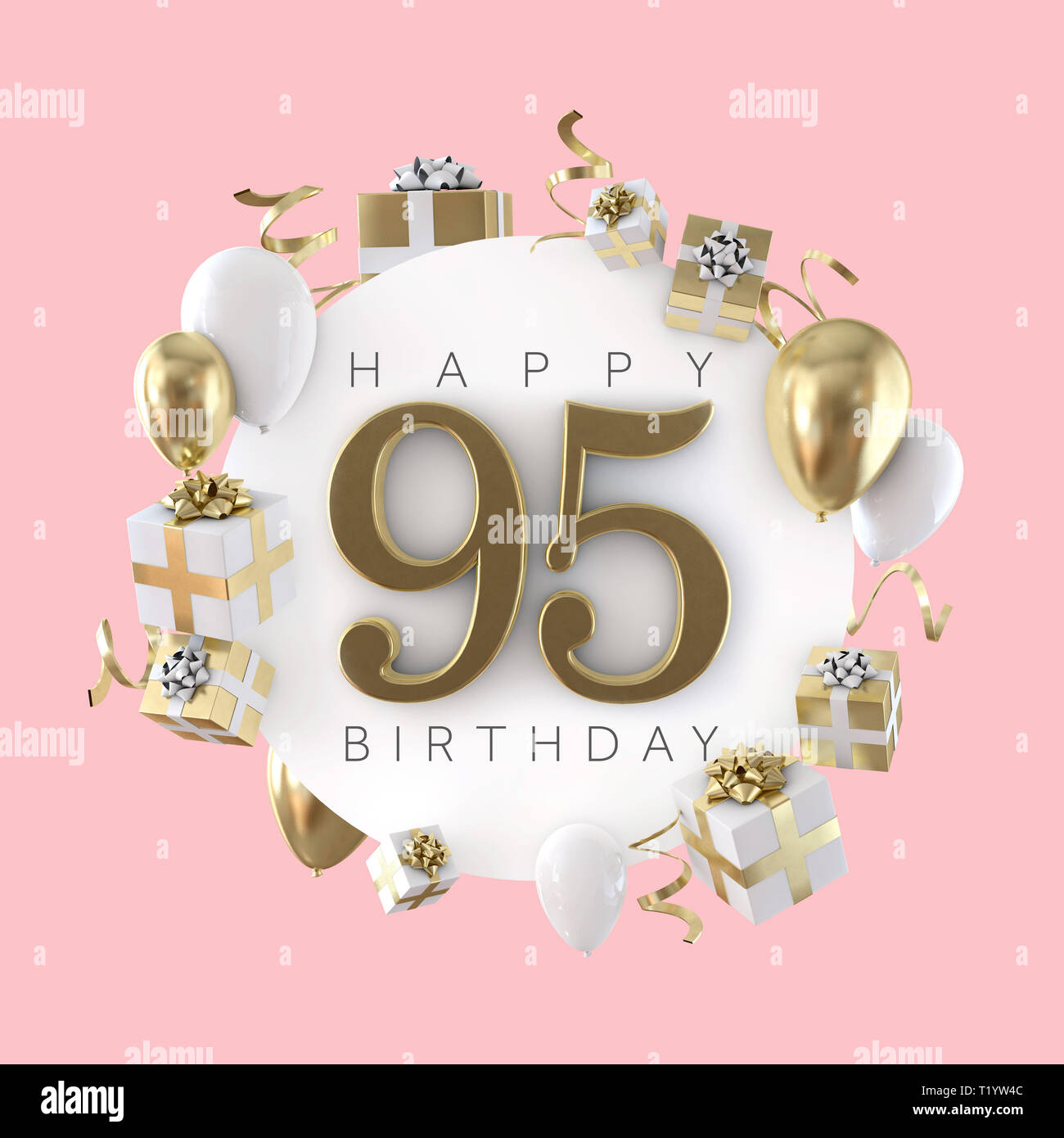 Happy 95th Birthday Party Composition With Balloons And Presents 3D Render
