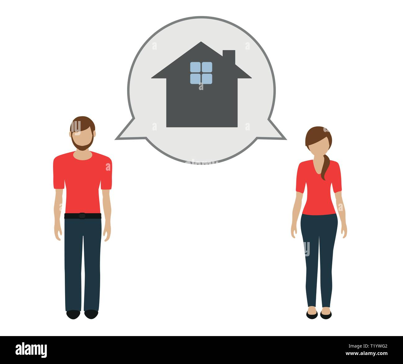 man and woman talk about house vector illustration EPS10 - Stock Vector
