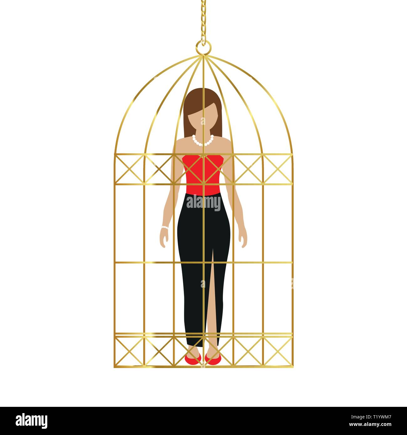 woman in a golden cage isolated on white background vector illustration EPS10 - Stock Vector