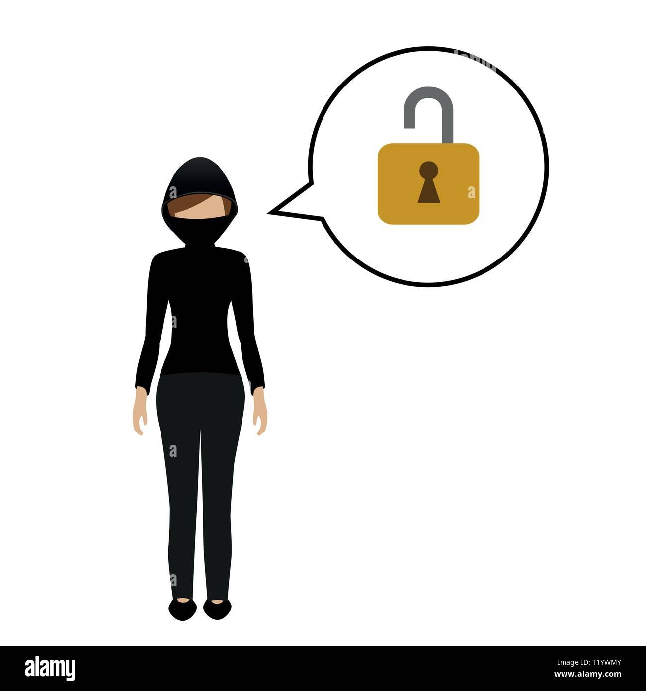 female burglar character talks about opening a lock vector illustration EPS10 - Stock Vector