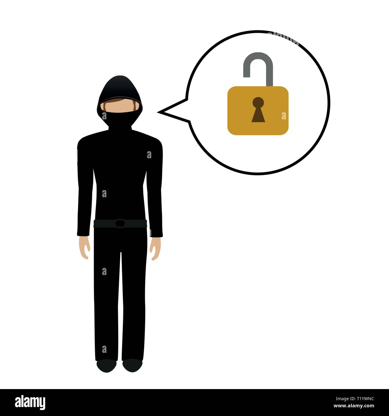 male burglar character talks about opening a lock vector illustration EPS10 - Stock Vector