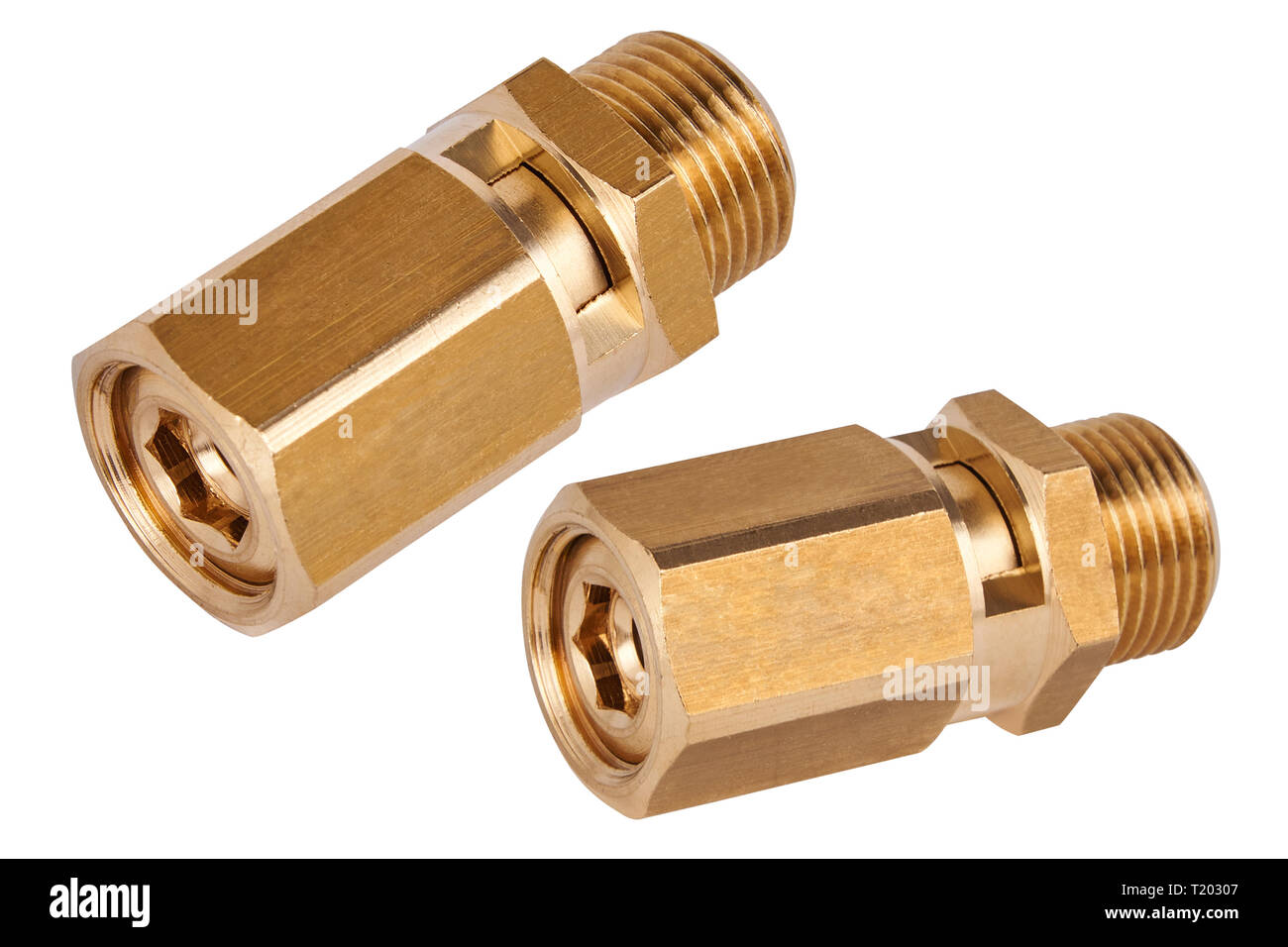 emergency valve. Spare parts for professional coffeee machines. Isolated. Barista equipment - Stock Image