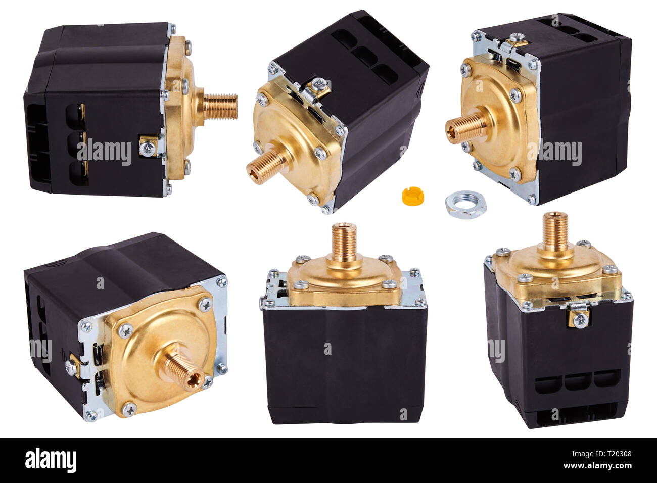Three phase compressors. Pressure switch Control. Pressure switch for compressor. Spare parts for professional coffeee machines. Isolated. - Stock Image