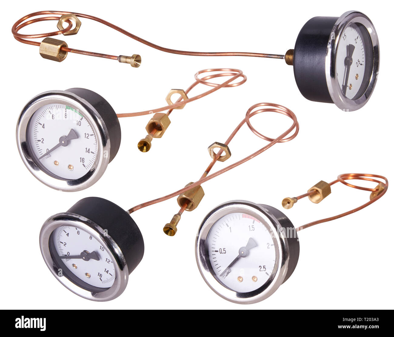 A Pressure Gauge. Isolated - Stock Image