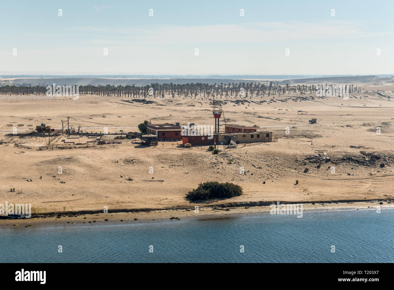 Ismailia, Egypt - November 5, 2017: Military watch tower and built on the shore of the Suez Canal near Ismailia, Egypt, Africa. - Stock Image