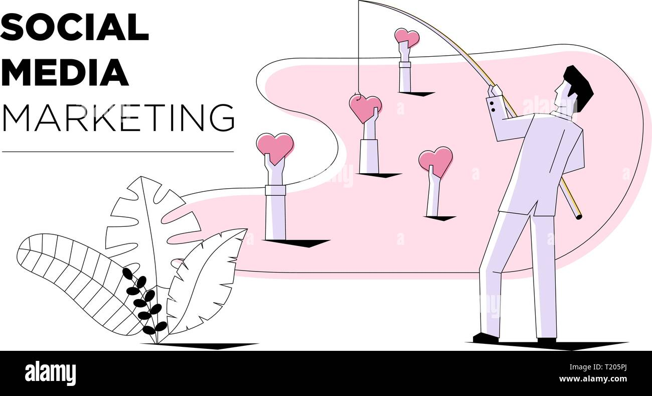 Social media marketing businessman fishing like sign heart modern style. Business internet technology card template design. Vector concept illustratio - Stock Image