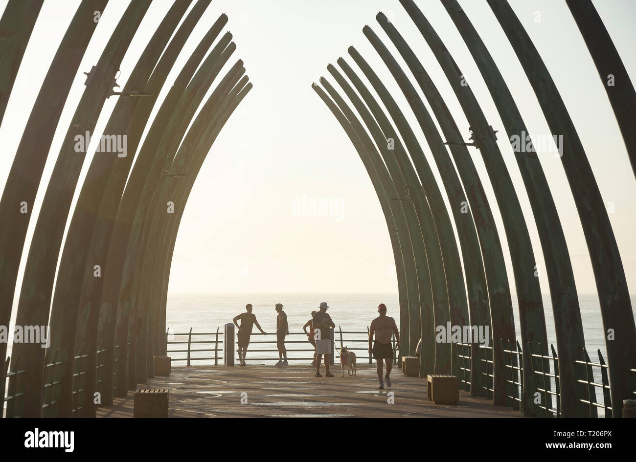 Whalebone Pier at sunrise, Umhlanga Rocks, Umhlanga, KwaZulu-Natal, South Africa - Stock Image
