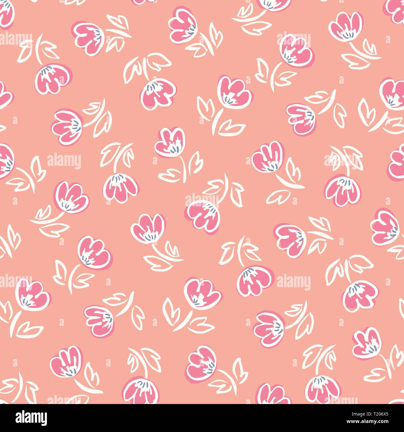 Cute abstract hand-drawn tulip flowers on coral background vector seamless pattern. Whimsical floral print. Simplistic ditsy blooms. Retro minimal sty - Stock Image