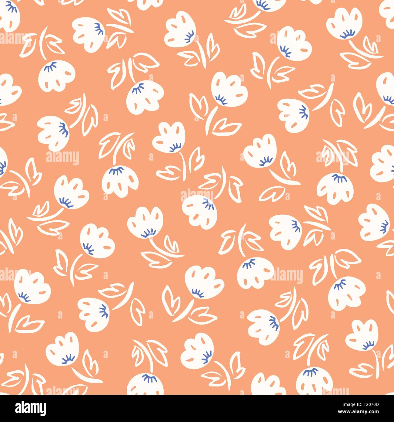 Cute abstract hand-drawn tulip flowers on coral background vector seamless pattern. Whimsical floral print. Simplistic ditsy blooms. Scandinavian mini - Stock Image