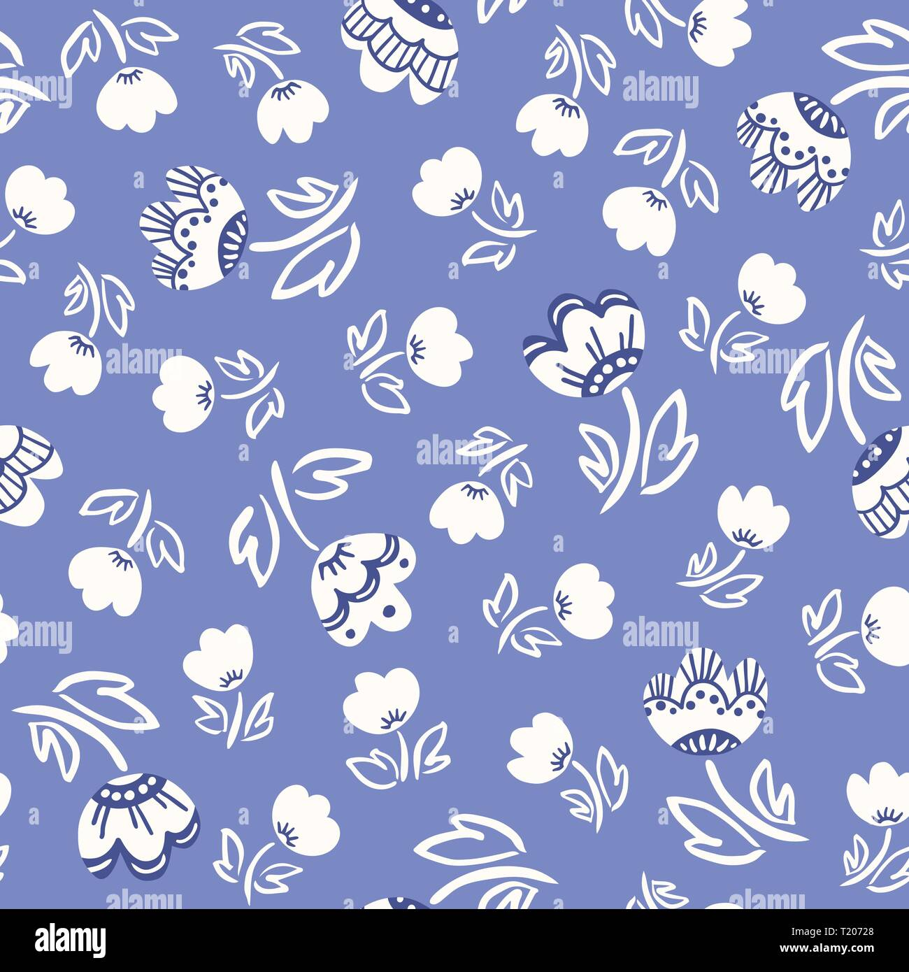 Cute abstract hand-drawn tulip flowers on coral background vector seamless pattern. Whimsical delft floral print. Simplistic ditsy blooms. Scandinavia - Stock Image