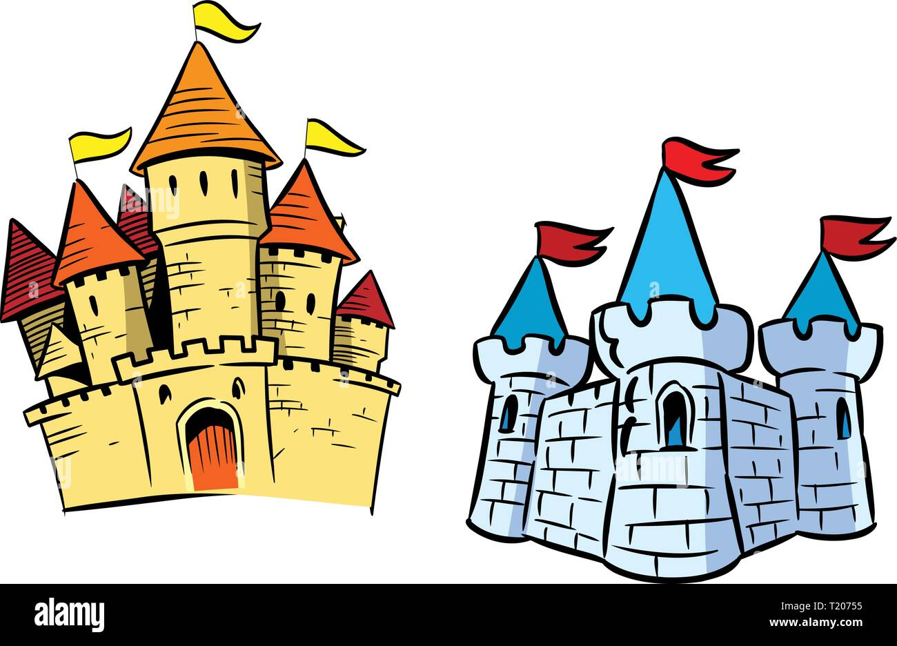 The illustration shows several types of castles in cartoon style. Illustration done on separate layers. - Stock Vector
