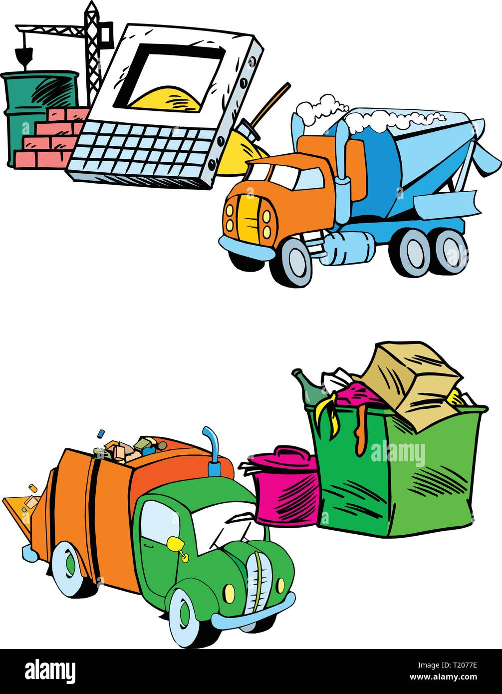 The illustration shows several modes of transport, namely garbage truck and construction equipment. Illustration done on separate layers - Stock Image