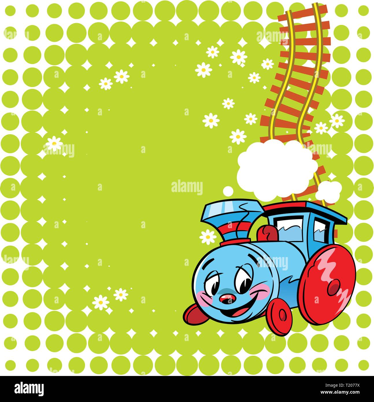 The Illustration Shows A Funny Toy Locomotive On A Green Background