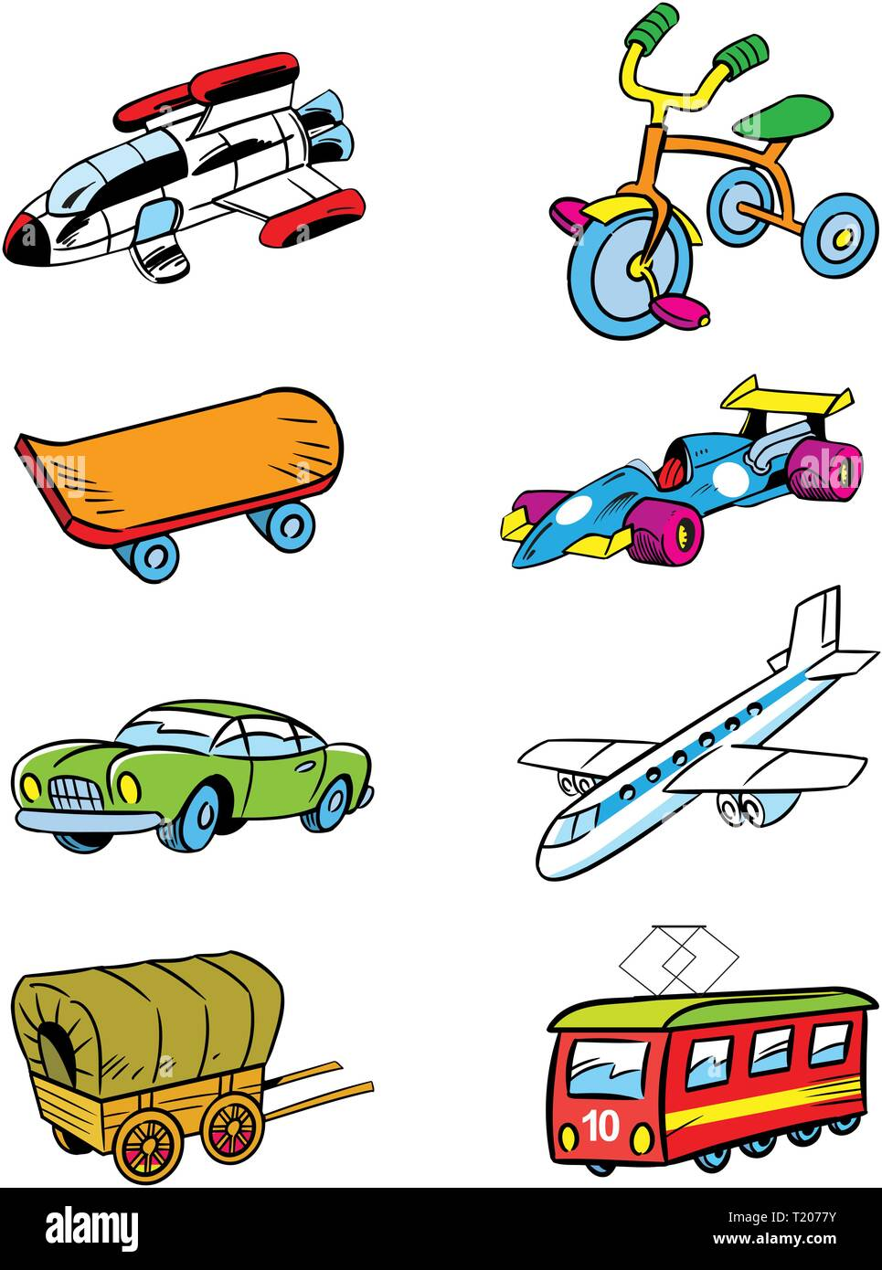 The illustration shows some types of transport and vehicles. Illustration done in cartoon style, on separate layers. - Stock Image