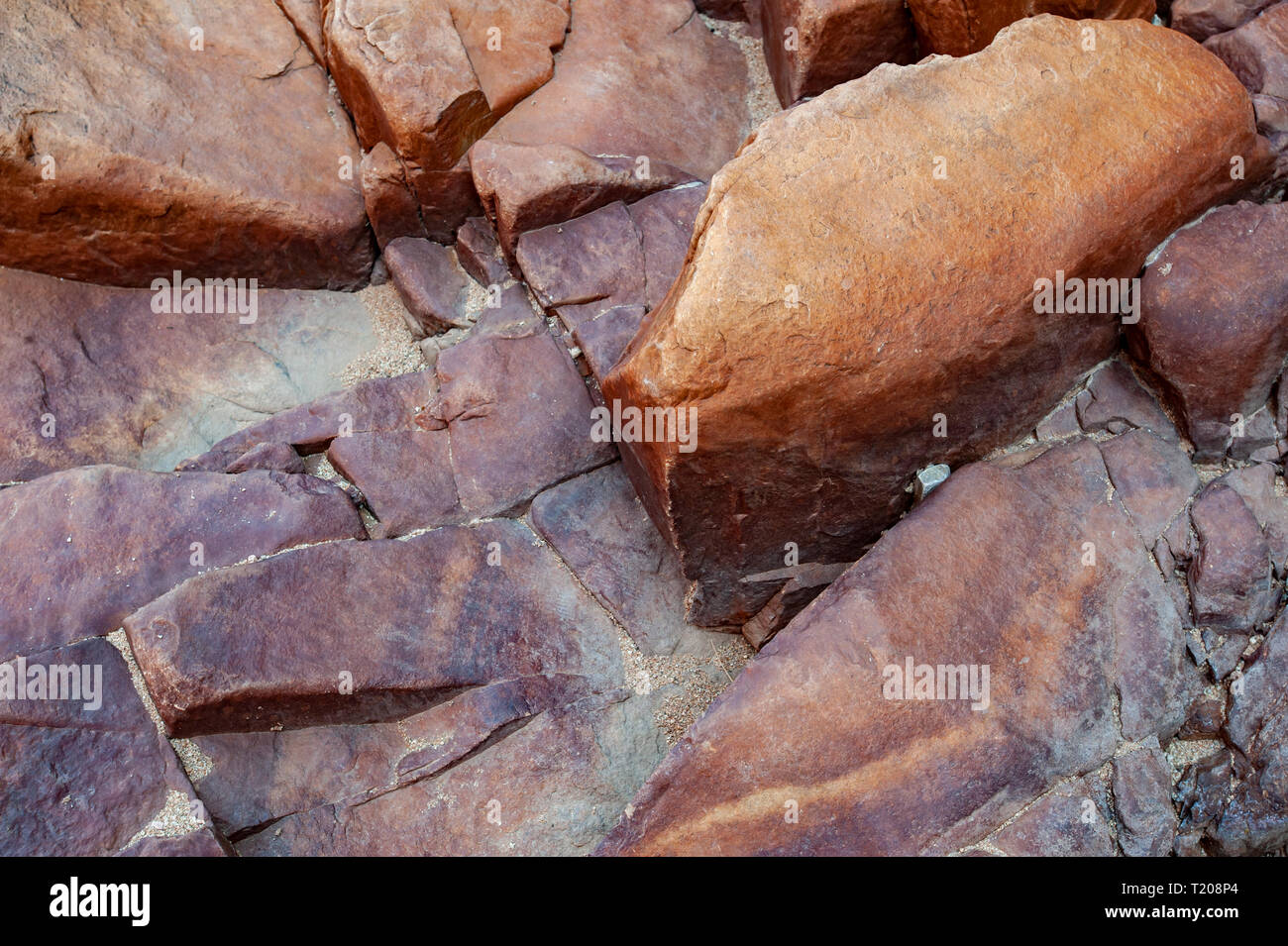 Coloured rock in Redbank Gorge, Northern Territory, Australia - Stock Image