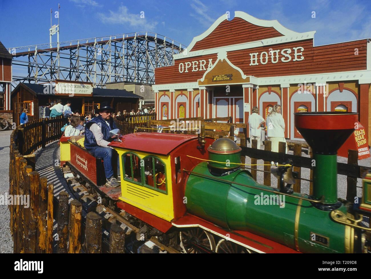 El Paso Railroad miniture railway, Frontierland Western Theme Park, Morecambe, Lancashire, England, UK. Circa 1980's Stock Photo