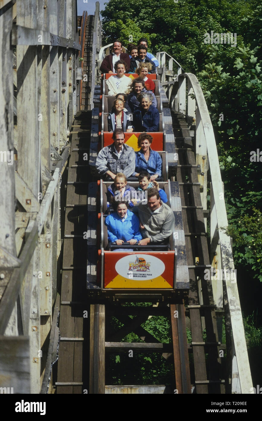 Texas Tornado wooden roller coaster at Frontierland Western Theme Park, Morecambe, Lancashire, England, UK. Circa 1980's Stock Photo