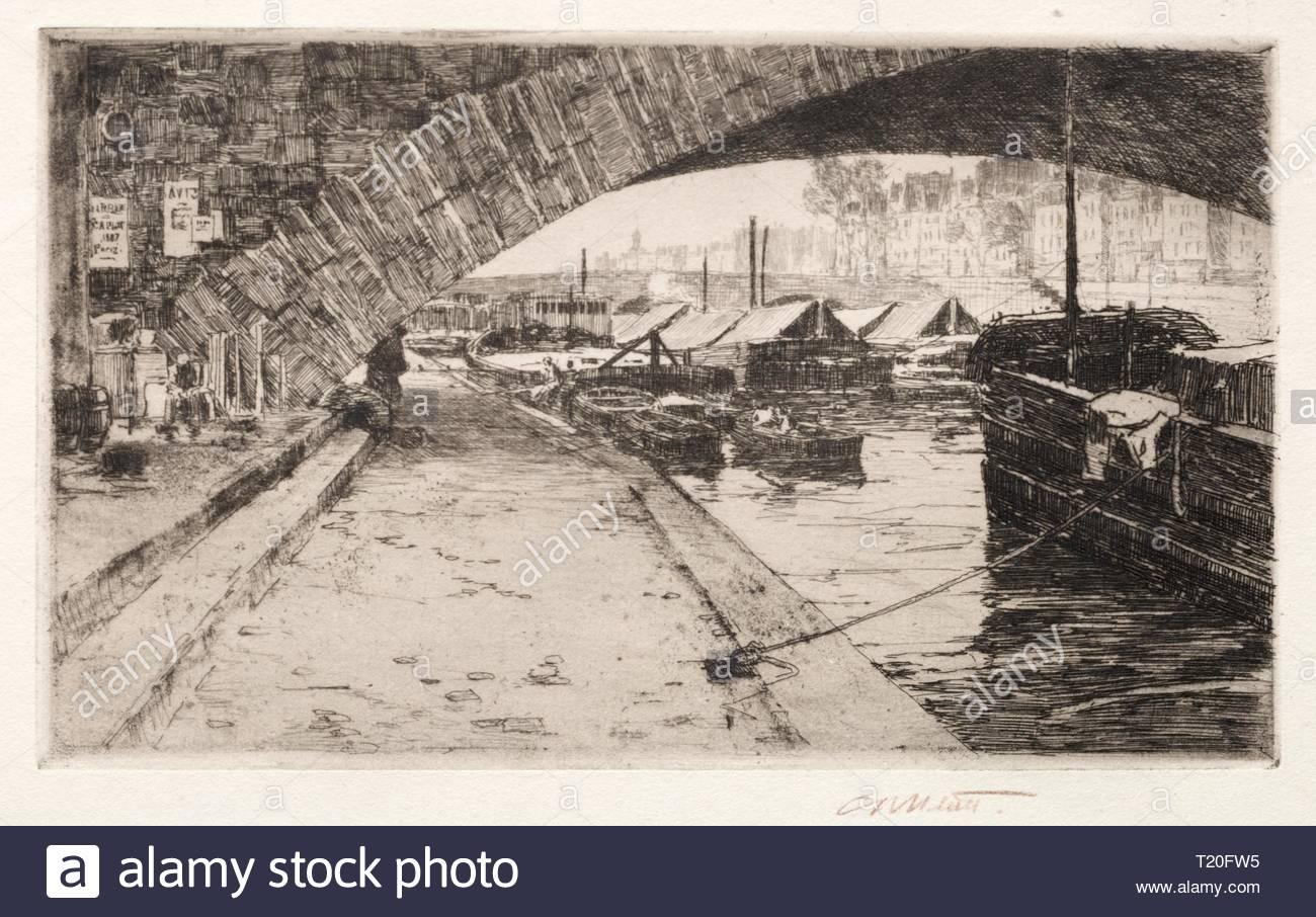 Under the Pont Marie, Paris, 1887. Charles Adams Platt (American, 1861-1933). Etching. - Stock Image